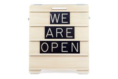 We are Open Mini Sandwich Board - Wooden Message Board by One Two Tree Designs