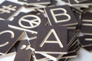 Custom Wooden Letters Tiles from One Two Tree