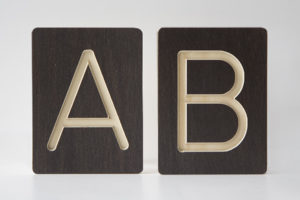 A and B Letter Alphabet Wooden Tiles from One Two Tree Designs