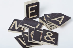 Symbols and Letters Wooden Tile Set from One Two Tree Designs