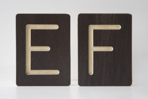 E and F Letter Alphabet Wooden Tiles from One Two Tree Designs