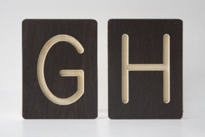 G and H Letter Alphabet Wooden Tiles from One Two Tree Designs