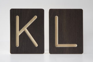 K and L Letter Alphabet Wooden Tiles from One Two Tree Designs