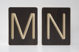 M and N Letter Alphabet Wooden Tiles from One Two Tree Designs