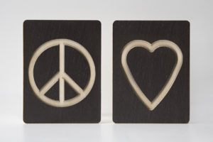 Peace and Love Symbol - Wooden Symbol Tiles by One Two Tree Designs