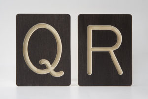 Q and R Letter Alphabet Wooden Tiles from One Two Tree Designs