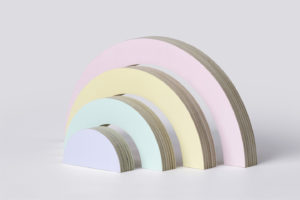 Pastel Wooden Rainbow Stacker Toy from One Two Tree Designs