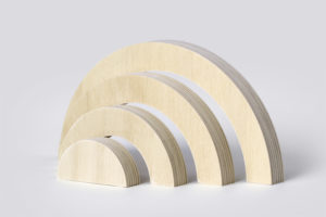 Wooden Rainbow Stacker Toy from One Two Tree Designs