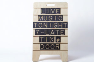 Live Music Tonight - Large Sandwich Wooden Message Board from One Two Tree Designs