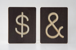 Dollar and Ampersand Sign - Custom Wooden Symbol Tiles by One Two Tree Designs