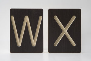 W and X Letter Alphabet Wooden Tiles from One Two Tree Designs