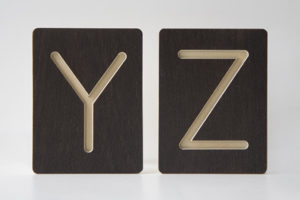 Y and Z Letter Alphabet Wooden Tiles from One Two Tree Designs