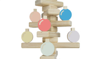Wooden Christmas Tree Decoration with Baubles Set