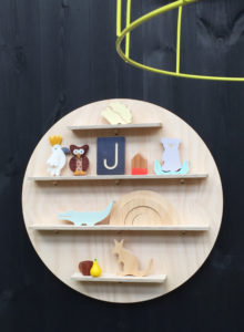 Wooden Circle Wall Shelf Treasure Board with Kids Toys