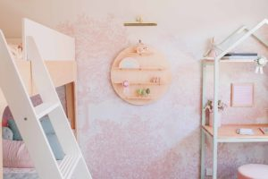 Circle Wall Shelf in a Room - Wooden Floating Wall Shelves by One Two Tree Designs