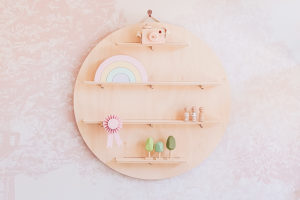 Round Wall Shelf - Wooden Hanging Wall Shelf from One Two Tree Designs.