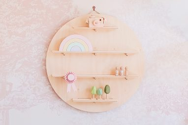 Circle Treasure Board - Wooden Floating Wall Shelves by One Two Tree Designs