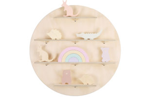 Wooden Circle Wall Shelf with Australian Native Animal Toys from One Two Tree Designs