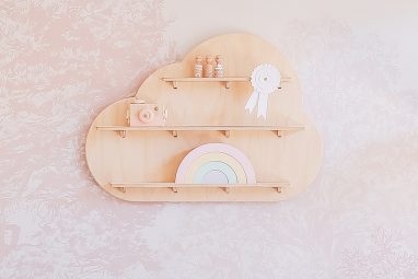 Dreamy Cloud Treasure Board - Floating Wooden Wall Shelves by One Two Tree Designs