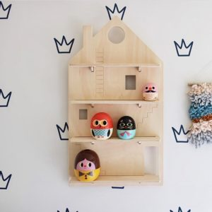 Play House Wooden Wall Shelf Decorated in a Wall