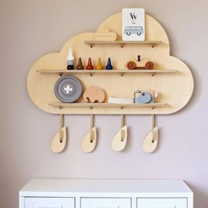 Rainy Cloud Wall Shelf - Floating Wooden Shelves by One Two Tree Designs