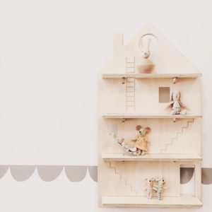 Wooden Play House Wall Shelf Treasure Board with Kids Toys from One Two Tree Designs