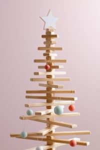 Wooden Christmas Tree with White Star Topper and Bauble Ornaments - One Two Tree Designs