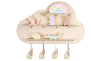 Wooden Rainy Cloud Wall Shelf with Australian Native Animal Toys from One Two Tree Designs