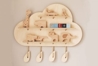 Rainy Cloud Treasure Board - Wooden Cloud Wall Shelves by One Two Tree Designs