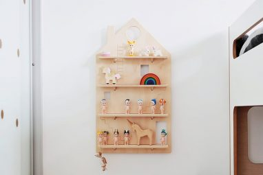 Wooden Play House Shelf decorated on a wall with Kids Toys - One Two Tree Designs