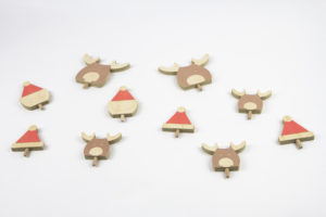 Reindeer and Santa Hat Set for Christmas Tree Decoration - Wooden Tree Ornaments by One Two Tree