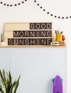Good Morning Sunshine - Wooden Message Board Decorated on a Wall