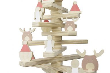 Christmas Tree Decorated with Wooden Reindeer, Santa Hat, and Angel Ornament Set