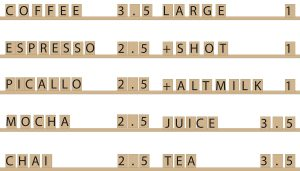 Coffee Shop Menu Layout for Wall - Wooden Wall Decorations by One Two Tree Design