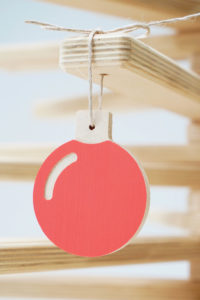 Red Bauble Ornament in Wooden Christmas Tree - Hanging Bauble Tree Ornament by One Two Tree Designs